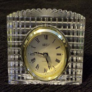 Mikasa Quartz Lead Crystal Clock Made Germany Vtg